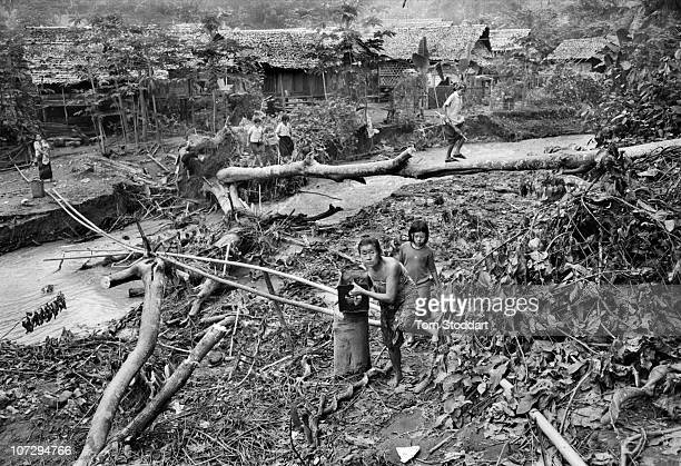 A general view of Ei Htu Hta refugee camp in the jungle of eastern Burma The camp was built for 500 people fleeing from the Burmese army and is now...