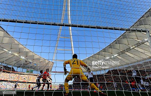 A general view of Eiji Kawashima of Japan in goal during the 2010 FIFA World Cup South Africa Group E match between Netherlands and Japan at Durban...