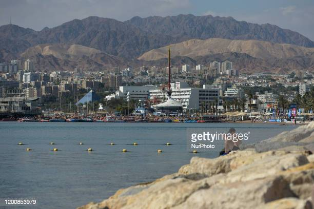 General view of Eilat and Eilat mountains in the background. On Monday, February 3 in Eilat, Israel.