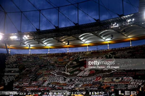 A general view of Eintracht Frankfurt fans in the stands as they hold up a giant banner during the UEFA Europa League Semi final first leg match at...