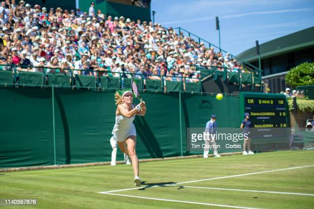 A general view of Ekaterina Alexandrova of Russia in action against Victoria Azarenka of Belarus on Court 18 in the Ladies Singles Championship...