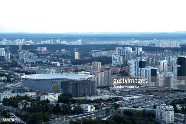 General view of Ekaterinburg Arena during a media tour of Russia 2018 FIFA World Cup venues on August 19 2017 in Ekaterinburg Russia