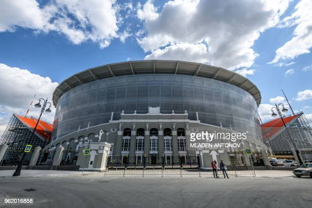 A general view of Ekaterinburg Arena in Yekaterinburg on May 24 2018 The 35000seater stadium will host four group matches of the 2018 FIFA World Cup