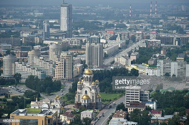 General view of Ekaterinburg city during a media tour of Russia 2018 FIFA World Cup venues on July 12 2015 in Ekaterinburg Russia