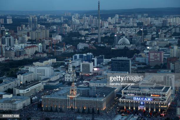 General view of Ekaterinburg city during a media tour of Russia 2018 FIFA World Cup venues on August 19 2017 in Ekaterinburg Russia