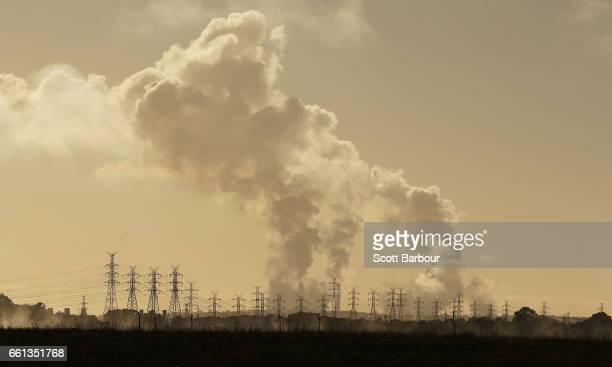 A general view of electricity pylons near the Hazelwood Power Station on March 31 2017 in Hazelwood Australia Around 750 workers have been left...