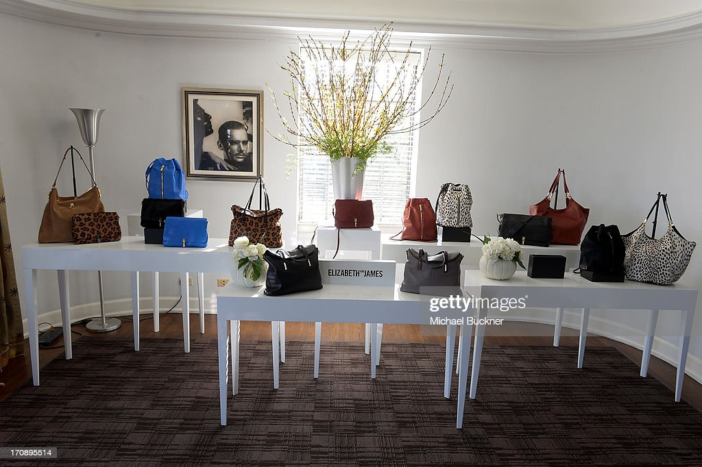A general view of Elizabeth and James handbags during Mary-Kate Olsen, Ashley Olsen, and InStyle Editor Ariel Foxman celebrate the launch of the Elizabeth and James Fall 2013 Handbag Collection at a cocktail party held at Chateau Marmont in West Hollywood on June 19, 2013.