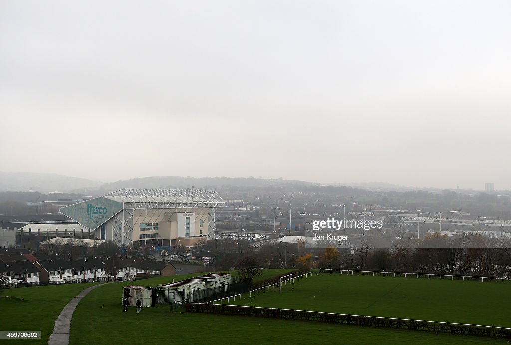 General view of Elland Road Stadium from Beeston Hill ahead of the Sky Bet Championship match between Leeds United and Derby County at Elland Road on November 29, 2014 in Leeds, England.
