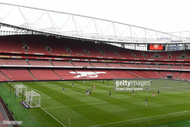 A general view of Emirates Stadium a friendly match between Arsenal and Brentford on June 10 2020 in London England