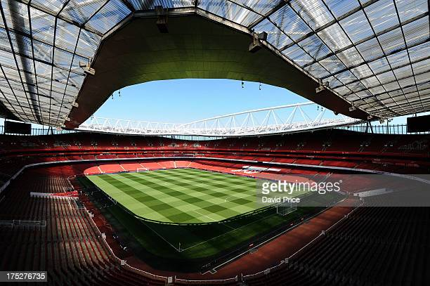 A general view of Emirates Stadium after Arsenal's head groundsman Paul Ashcroft put out the goals for first time ahead of the new season at Emirates...
