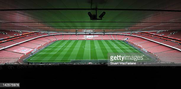 A general view of Emirates Stadium before Barclays Premier League match between Arsenal and Manchester City on April 8 2012 in London England