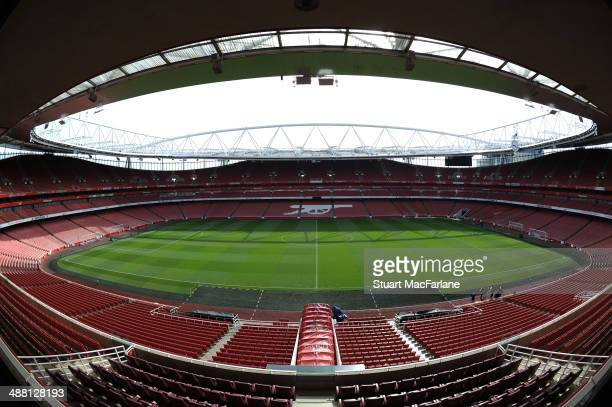 A general view of Emirates stadium before the Barclays Premier League match between Arsenal and West Bromwich Albion on May 4 2014 in London England