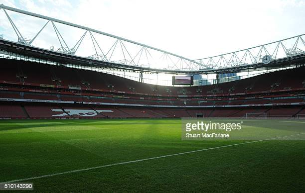 A general view of Emirates stadium before the Barclays Premier League match between Arsenal and Leicester City on February 14 2016 in London England
