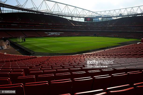 A general view of Emirates Stadium before the Emirates FA Cup Sixth Round match between Arsenal and Watford at Emirates Stadium on March 13 2016 in...