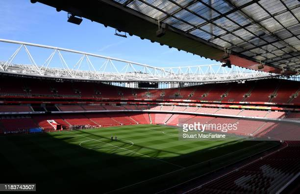 General view of Emirates Stadium before the Premier League match between Arsenal FC and Crystal Palace on October 27, 2019 in London, United Kingdom.