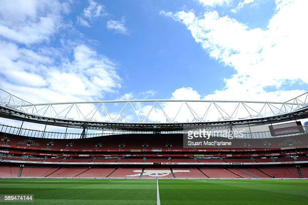 A general view of Emirates stadium before the Premier League match between Arsenal and Liverpool on August 14 2016 in London England