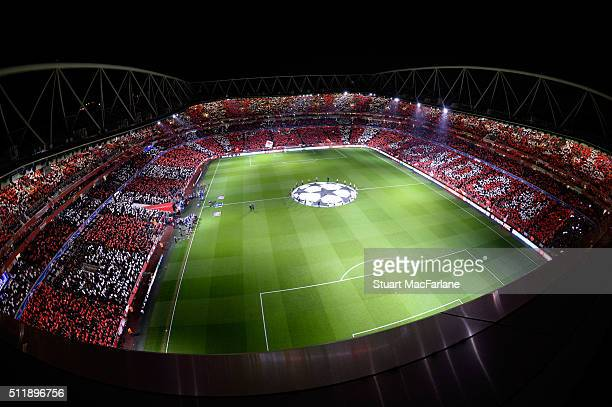 A general view of Emirates Stadium before the UEFA Champions League Round of 16 1st leg match between Arsenal and Barcelona on February 23 2016 in...