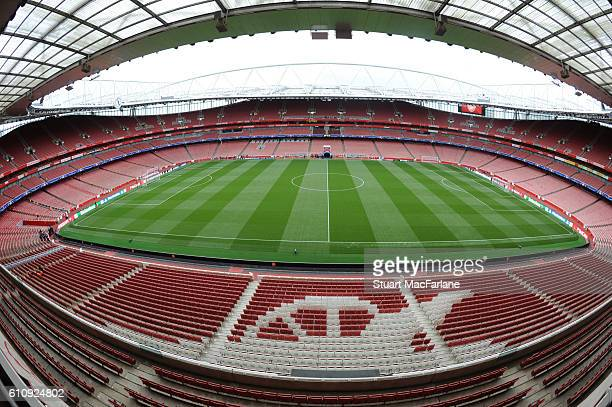 A general view of Emirates Stadium before the UEFA Champions League match between Arsenal FC and FC Basel 1893 on September 28 2016 in London England