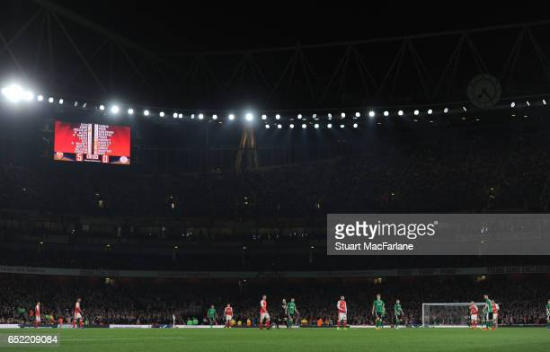 A general view of Emirates Stadium during the Emirates FA Cup QuarterFinal between Arsenal and Lincoln City on March 11 2017 in London England