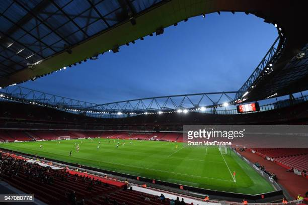A general view of Emirates Stadium during the FA Youth Cup Semi Final 2nd Leg match between Arsenal and Blackpool on April 16 2018 in London England