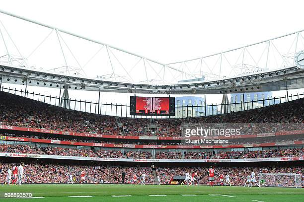 A general view of Emirates Stadium during the friendly match between the Arsenal Legends and Milan Glorie on September 3 2016 in London England