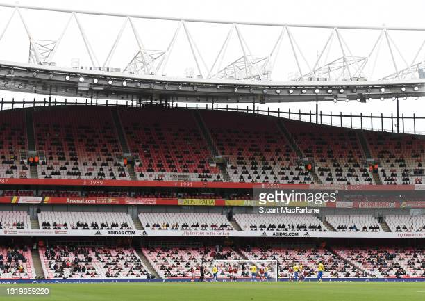 General view of Emirates stadium during the Premier League match between Arsenal and Brighton & Hove Albion on May 23, 2021 in London, England. A...