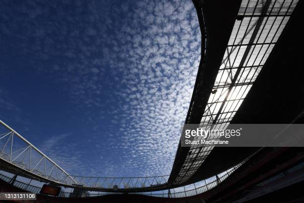 General view of Emirates Stadium the Premier League match between Arsenal and Fulham on April 18, 2021 in London, England. Sporting stadiums around...