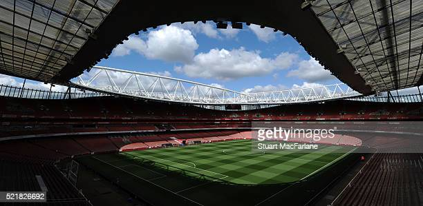 A general view of Emitrates Stadium before the Barclays Premier League match between Arsenal and Crystal Palace on April 17 2016 in London England