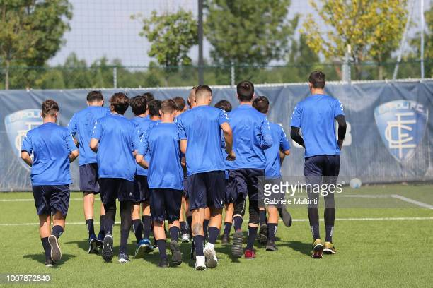 General view of Empoli U17 during a training session on July 30 2018 in Empoli Italy