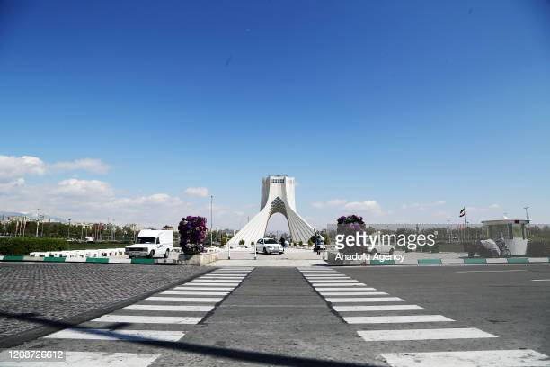 General view of empty Azadi Square following the coronavirus pandemic in Tehran, Iran on March 31, 2020.