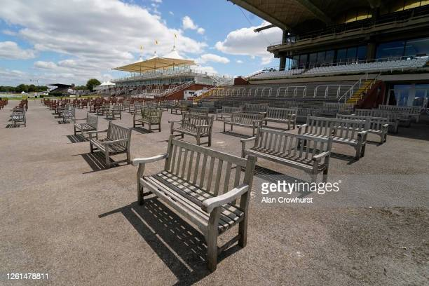A general view of empty benches in the enclosures at Goodwood Racecourse on July 28 2020 in Chichester England Owners are allowed to attend if they...