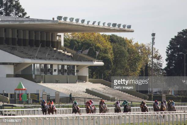 General view of empty bleachers during the fifth race of the competition day as Uruguay slowly returns to normal due to coronavirus outbreak at...