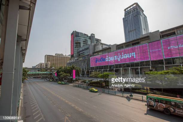 General view of empty Central World Shopping Mall and Ratchadamri Road is seen amid Coronavirus outbreak on April 03, 2020 in Bangkok, Thailand....