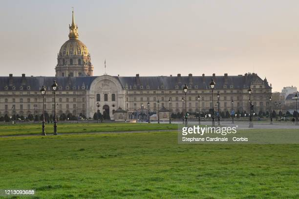 General view of empty Esplanade des Invalides on the first day of confinement due to an outbreak of coronavirus disease . A strict lockdown requiring...