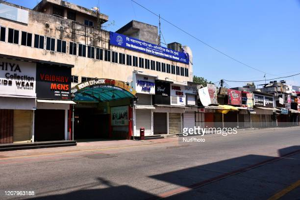 General view of empty Mall and shops during a One day nationwide Janata curfew imposed as a preventive measure against the COVID-19 corona virus, in...