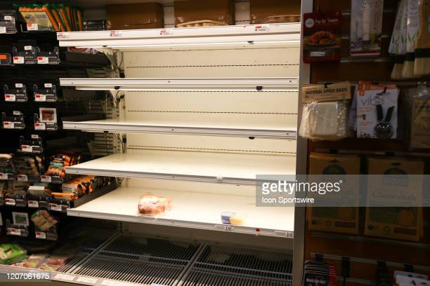 General view of empty meat case on March 13, 2020 at Whole Foods Merket in Vauxhall, NJ. The empty store shelves are due to the Coronavirus disease...