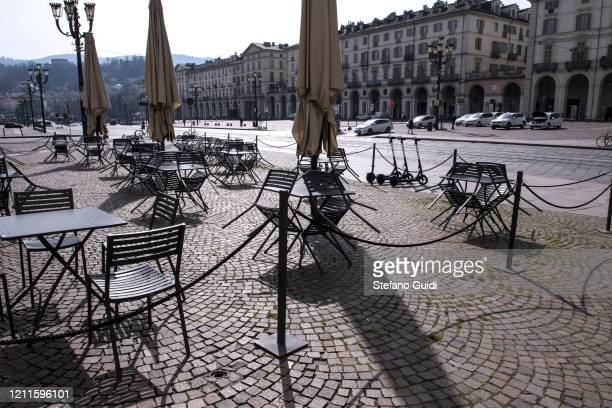 General view of empty premises in Piazza Vittorio Veneto as Italy clamps down on public events and travel to halt the spread of the coronavirus on...