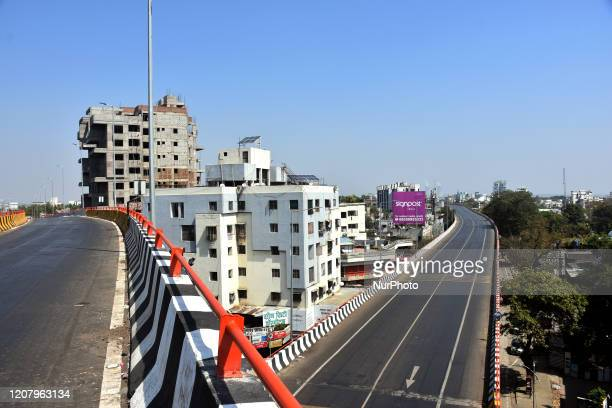 General view of empty roads during a One day nationwide Janata curfew imposed as a preventive measure against the COVID-19 corona virus, in Nagpur,...