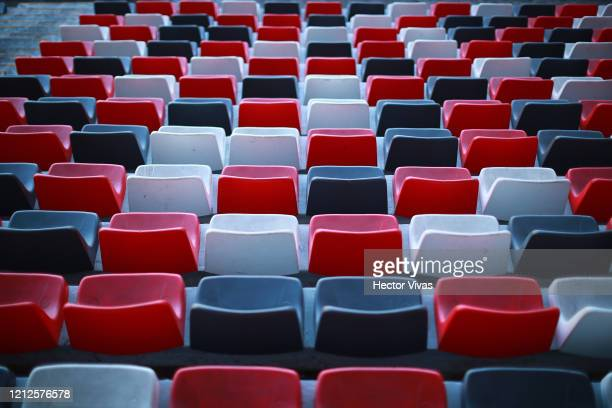 General view of empty seating at Nemesio Diez Stadium during the 10th round match between Toluca and Atlas as part of the Torneo Clausura 2020 Liga...