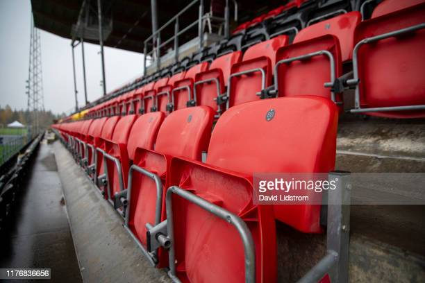 General view of empty seats ahead of the Allsvenskan match between Ostersunds FK and IK Sirius FK at Jamtkraft Arena on October 19, 2019 in...