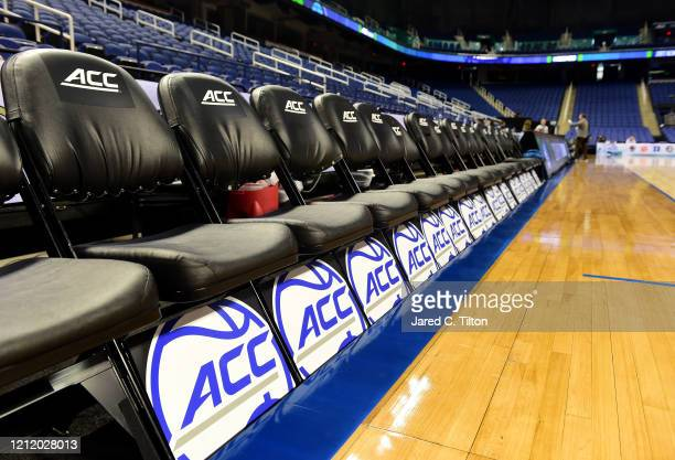 A general view of empty seats following the cancelation of the remainder of the 2020 Men's ACC Basketball Tournament at Greensboro Coliseum on March...