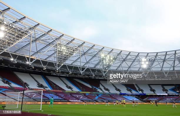 General view of empty seats in the stadium during the English Premier League football match between West Ham United and Burnley at The London...