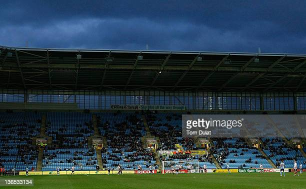 General view of empty seats in the stands during the FA Cup 3rd round match between Coventry City and Southampton at the Ricoh Arena on January 07...