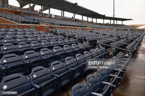 General view of empty seats of Peoria Stadium on March 12 2020 in Peoria Arizona Major League Baseball is reportedly joining the NBA in suspending...