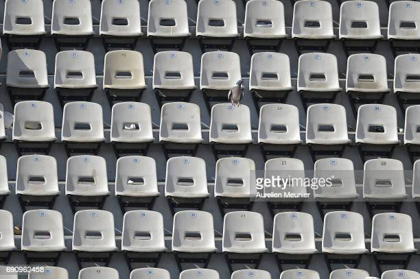 A general view of empty seats on Suzanne Lenglen court on day four of the 2017 French Open at Roland Garros on May 31 2017 in Paris France