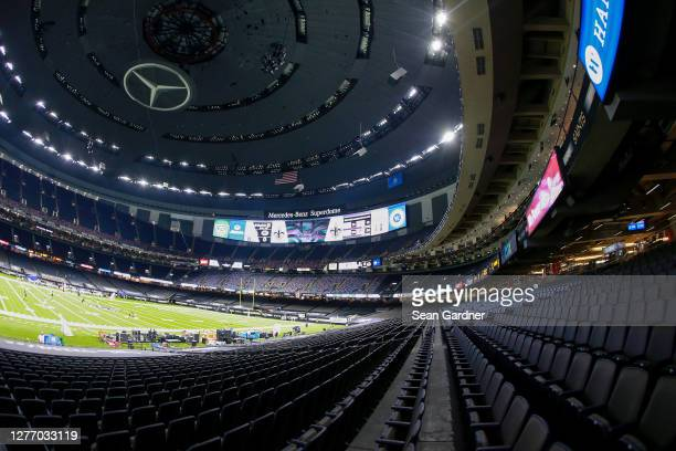 General view of empty seats prior to the game between the New Orleans Saints and the Green Bay Packers at Mercedes-Benz Superdome on September 27,...