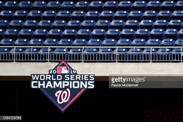 General view of empty seats with the 2019 Washington Natinoals World Series Champions logo during the Washington Nationals Summer Workouts at...