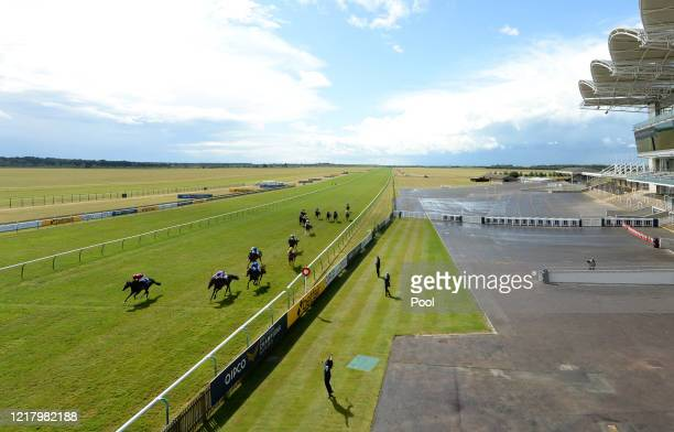 A general view of empty stands as Kameko ridden Oisin Murphy wins the Qipco 2000 Guineas Stakesat Newmarket Racecourse on June 06 2020 in Newmarket...