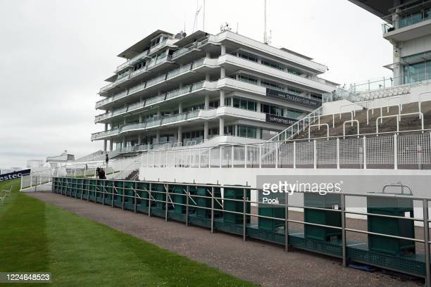 General view of empty stands at Epsom Racecourse on July 04, 2020 in Epsom, England. The famous race meeting will be held behind closed doors for the...