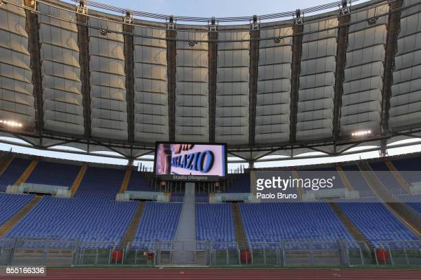 A general view of empty stands at the Stadio Olimpico before the UEFA Europa League group K match between SS Lazio and SV Zulte Waregem is played...